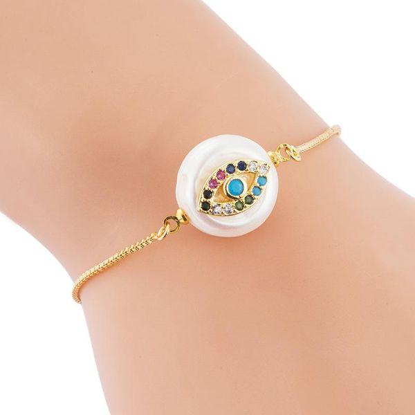 Pulsera de cobre completo perla ajustable ojo del diablo con incrustaciones con pulsera de circón de color NHLN187652