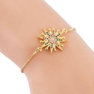 Copper Bracelet Sun Flower Rainbow Zircon Ladies Ins Pull Bracelet NHLN187654's discount tags