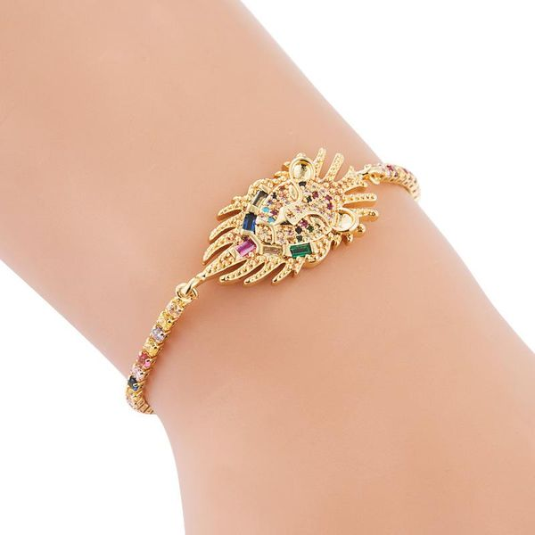 ins European and American fashion personality bracelet female copper pull adjustable lion accessories with color zircon rainbow bracelet NHLN187655