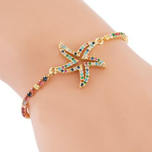Female copper adjustable creative hollow starfish rainbow inlaid zircon bracelet NHLN187656's discount tags