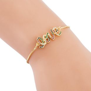 Full Copper Female Bracelet Letter LOVE Inlaid with Color Zircon Bracelet NHLN187663's discount tags