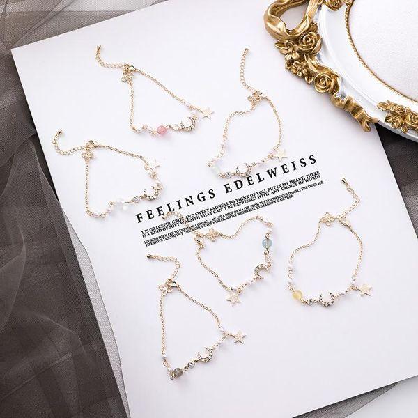 Bracelet Korean Simple Star Moon Fashion Girlfriends Couple Bracelet Pearl Bracelet NHMS187474