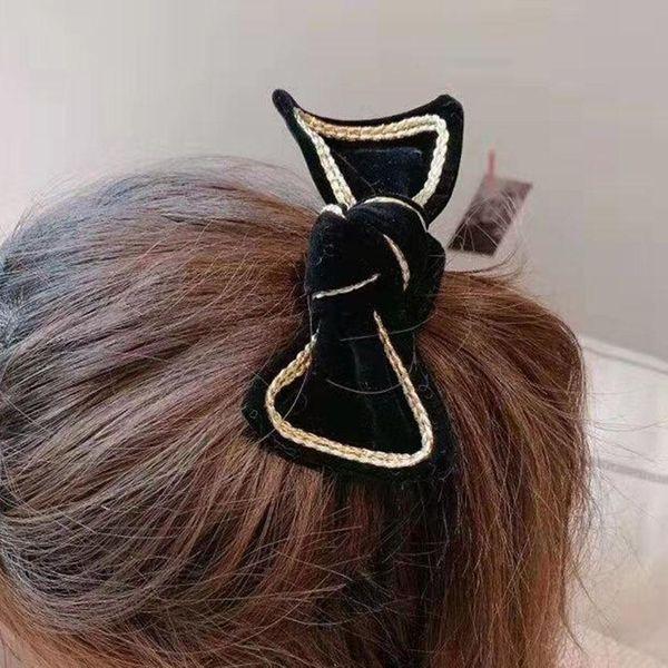 Simple flannel bow hair accessories wild home travel street shooting leisure hair accessories hair clips NHWJ187593