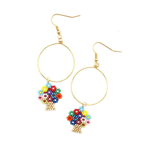 Simple wild fashion MIYUKI Mizhu big hoop earrings earrings NHGW187492