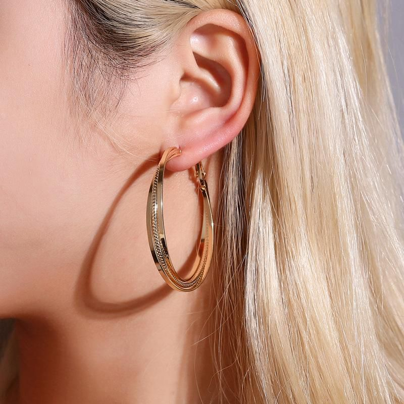 Fashionable Simple Threelayer Cross Earring Stud Earring Exaggerated Geometric Multilayer Large Circle Ear Hoop NHDP187644