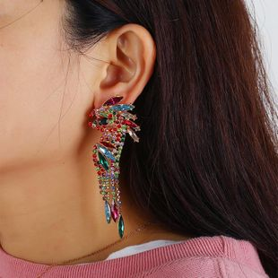 Personalized creative colored diamond bird earrings retro temperament wild long earrings NHKQ187337's discount tags