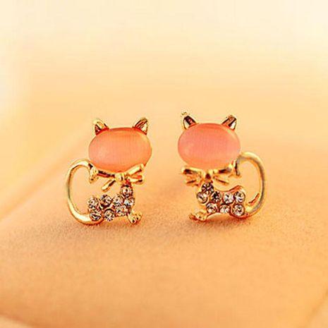 Oeil de chat diamant clouté chat boucles d'oreilles Corée mignon petit animal oreille bijoux en gros NHDP187600's discount tags