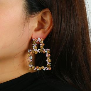 New bohemian retro strand alloy earrings colored diamonds geometric earrings wholesale NHKQ187324's discount tags
