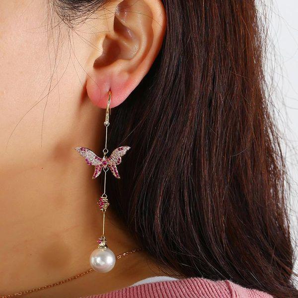 Earrings butterfly pendants copper earrings fashion earrings wholesale NHKQ187346