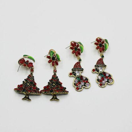 New Color Christmas Tree Earrings Retro Flash Full Diamond Santa Earrings Wholesale NHWJ187596's discount tags