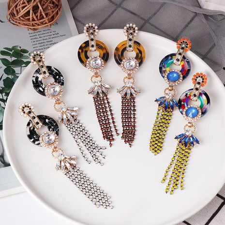New tri-color acetate plate tassel circle acrylic stud chain tassel earrings NHJJ187303's discount tags