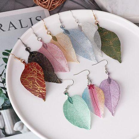 Explosion style earrings leaf earrings simple single layer hollow leaf earrings retro NHJJ187304's discount tags