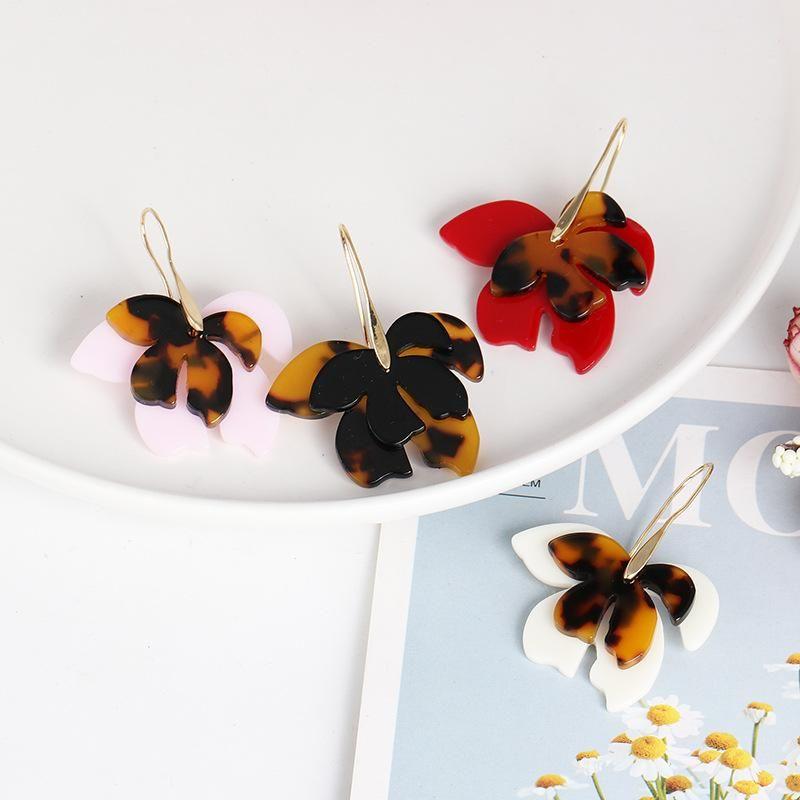 Acrylic film leaf pendant earrings fashion jewelry wholesale NHJJ187309