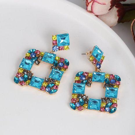 New geometric stud earrings in aquamarine diamond studded glass NHJJ187310's discount tags