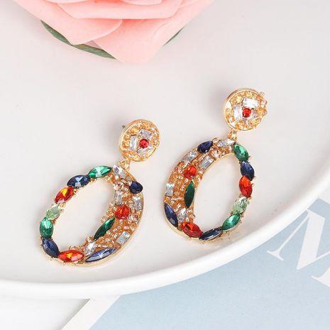 New Geometric Ear Studs Color Diamond Inlaid Glass Earrings Wholesale NHJJ187312's discount tags