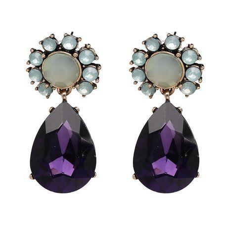 Vintage Hot Jewelry Glass Diamond Amethyst Stud Earrings NHJJ187276's discount tags