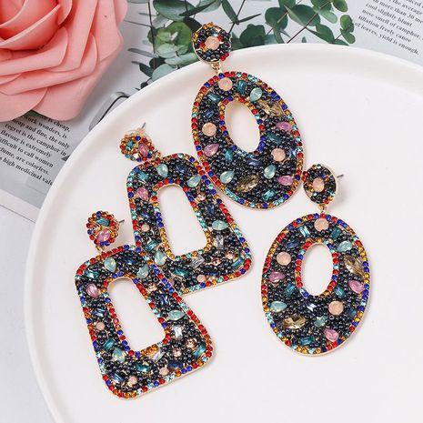 Korean Geometric Diamond Hoop Vintage Earrings NHJJ187279's discount tags