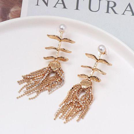 New popular alloy creative exaggerated tassel diamond earrings NHJJ187282's discount tags