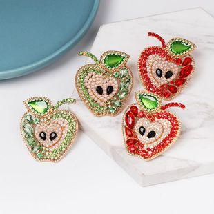 New fruit apple earrings diamond earrings wholesale NHJJ187295's discount tags