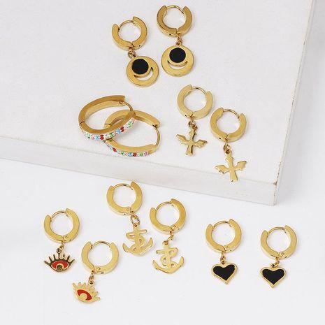 Korean titanium steel rose gold hypoallergenic ear buckle eyes heart anchor earrings simple earrings NHJJ187299's discount tags
