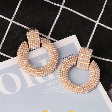 fashion geometric round micro inlaid pearl earrings women's jewelry wholesale NHJJ187300's discount tags