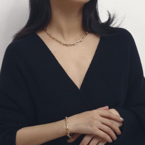 Single-layer geometric necklace female U-shaped chain ball-necklace NHXR187426's discount tags