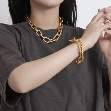 Jewelry Simple Geometric Hollow Chain Necklace Hip-Hop Matte Cross Chain Necklace NHXR187441's discount tags