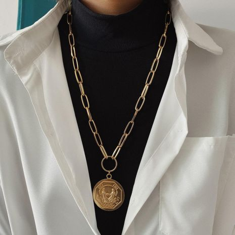 Jewelry Single-layer Thick Chain Retro Necklace Geometric Round Multilateral Embossed Portrait Necklace NHXR187451's discount tags