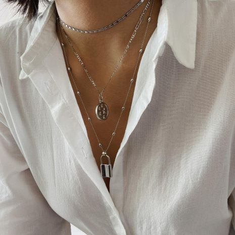 Jewelry Simple Geometric Lock Necklace Vintage Bead Chain Star Embossed Pendant Necklace NHXR187452's discount tags