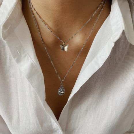 Jewelry butterfly three-dimensional metal necklace with drop-shaped zircon double necklace NHXR187455's discount tags