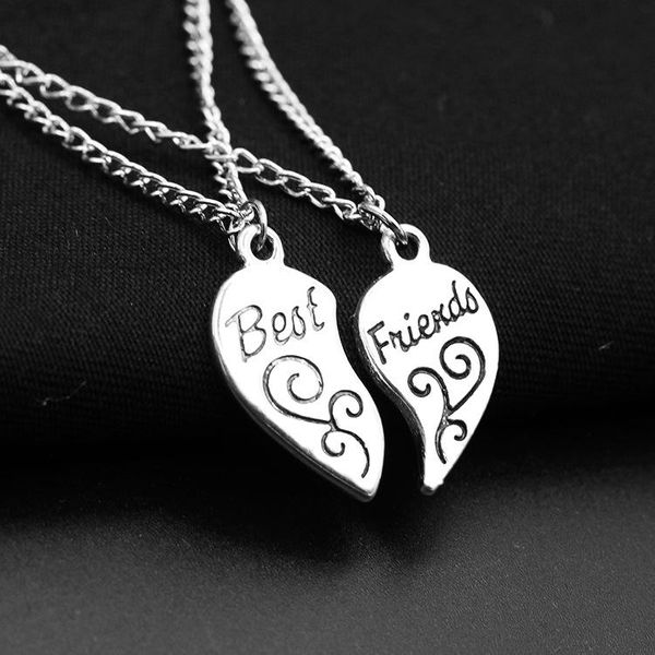 Best Friends alloy peach heart pendant girlfriends love stitching pendant lettering necklace NHDP187631