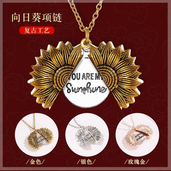 Sunflower Necklace Vintage Open Double Lettering Pendant Double-sided Flower Letter Clavicle Chain NHDP187634