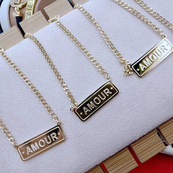 Fashion lettering square brand AMOUR necklace simple horizontal brand cold style couple accessories NHKQ187322
