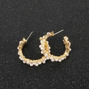 Vintage Faux Pearl Concave CShaped Earrings NHCT187703