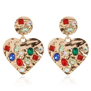 Geometric heart-shaped alloy diamond earrings with diamonds NHCT187706's discount tags