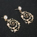 Fashionable alloy studded pearl studded retro earrings NHCT187707