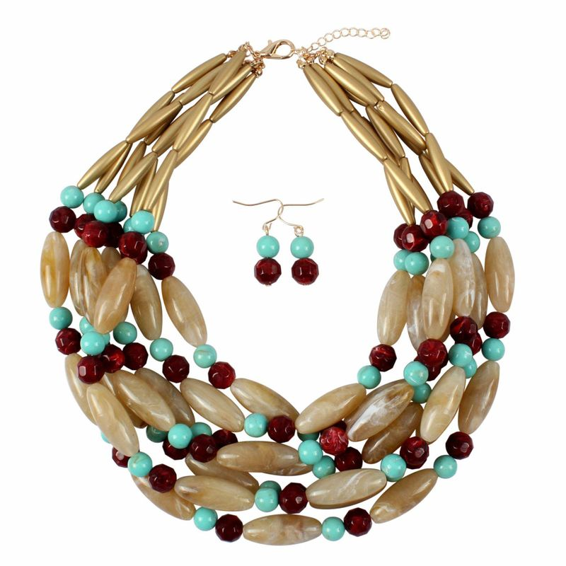 New fashion resin two-tone necklace jewelry wholesale NHCT187713