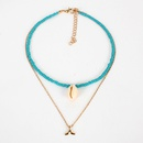 New turquoise rice beads natural conch shell short neck necklace handmade necklace women NHCT187714