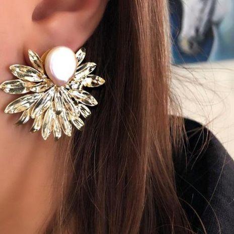 Personalized golden pearl leaf flower earrings earrings women NHGY187715's discount tags