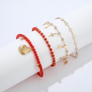 New jewelry fashion alloy diamond star bead shell 4 layer anklet NHGY187723