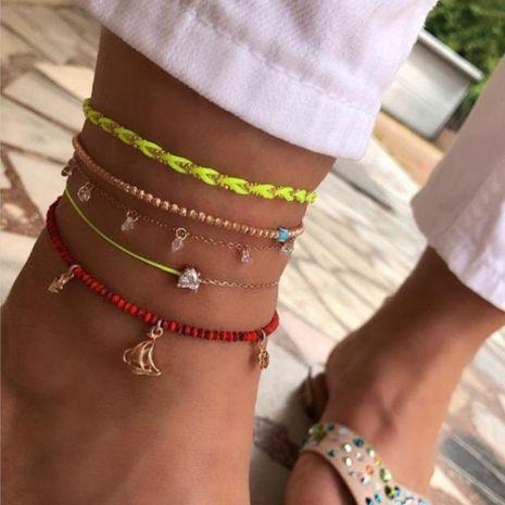 Nouveaux bijoux corde tissée à la main en alliage de diamant tissé yeux étoiles bracelet de cheville 5 couches NHGY187726's discount tags