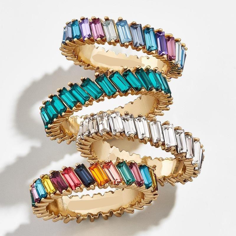Jewelry alloy t diamond gem color female ring ring new rainbow rings wholesale NHLU182775
