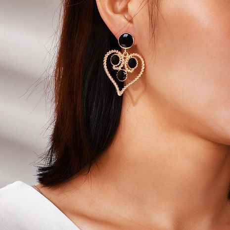 Temperament Hollow Peach Heart Earrings Retro Drip Hemp Heart Earrings NHGY187731's discount tags