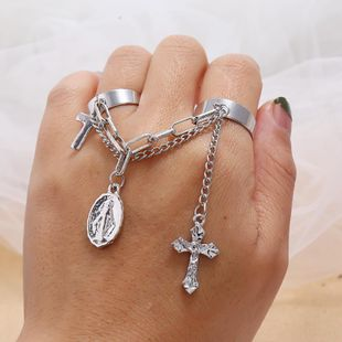 Adjustable Triad Ring With Diamond Cross Cross Men's Bracelet NHKQ187362's discount tags