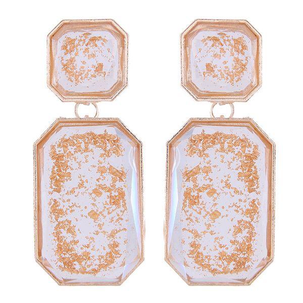 Fashion jewelry wholesale metal geometric shape square resin accessories earrings NHSC187382