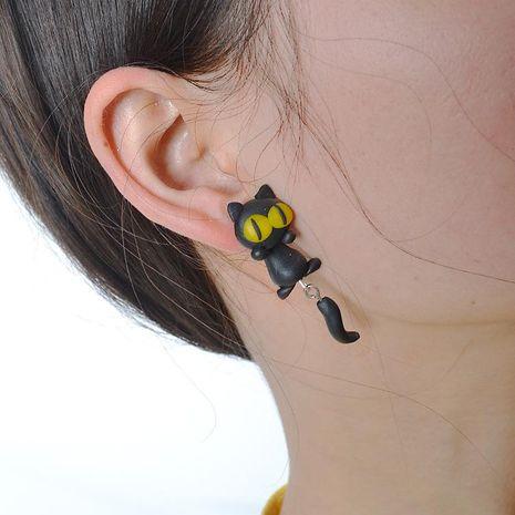 Soft ceramic earrings handmade earrings cartoon soft ceramic kitten earrings NHGY187740's discount tags