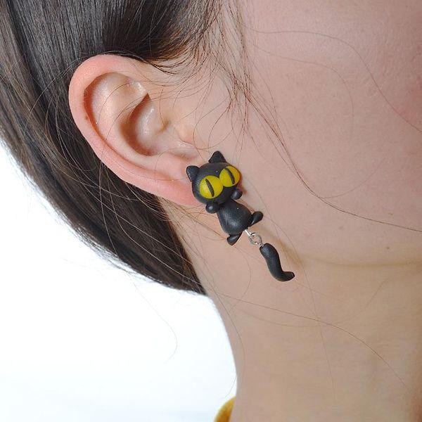 Soft ceramic earrings handmade earrings cartoon soft ceramic kitten earrings NHGY187740