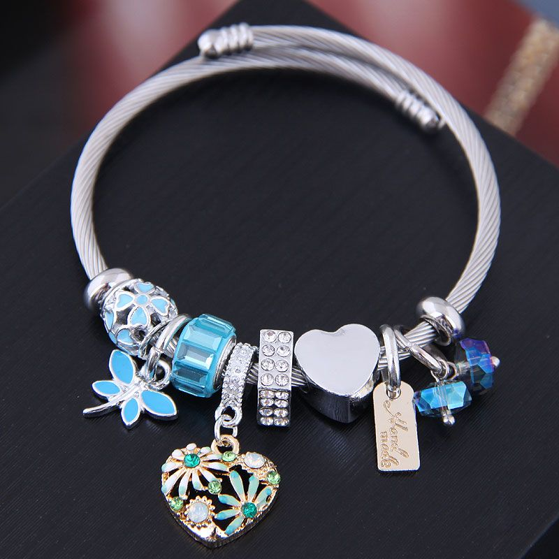 Fashion metal wild simple love pendant multi-element accessories bracelet NHSC187396