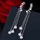 Korean fashion sweet OL simple elegant pearl tassel earrings NHSC187408