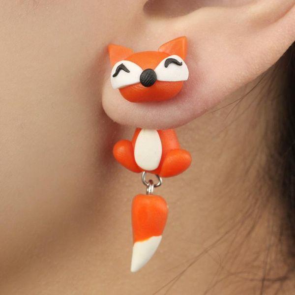 Cartoon animal soft pottery earrings piranha fox cat animal earrings handmade soft pottery animal earrings NHGY187741